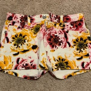 Yellow and Pink floral shorts.